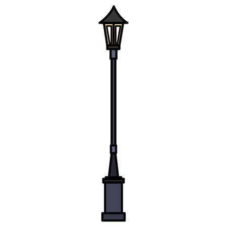 lanterns park isolated icon vector illustration design