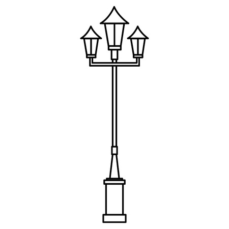 lanterns park isolated icon vector illustration design
