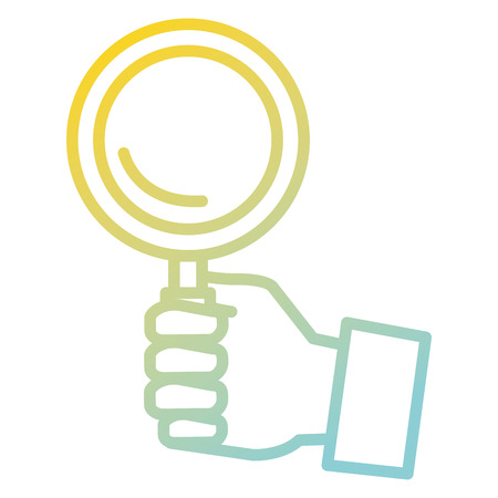 hand human with magnifying glass isolated icon vector illustration design Çizim