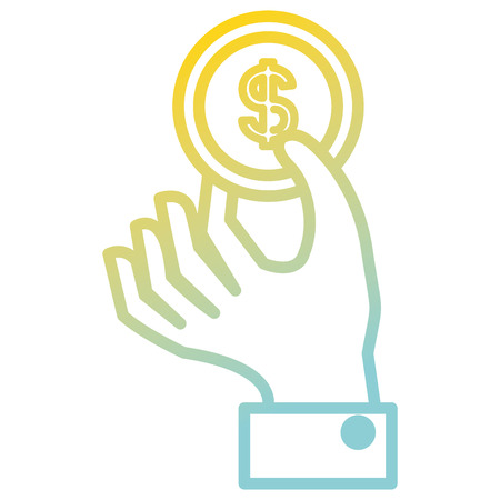 Hand with coin money isolated icon illustration design