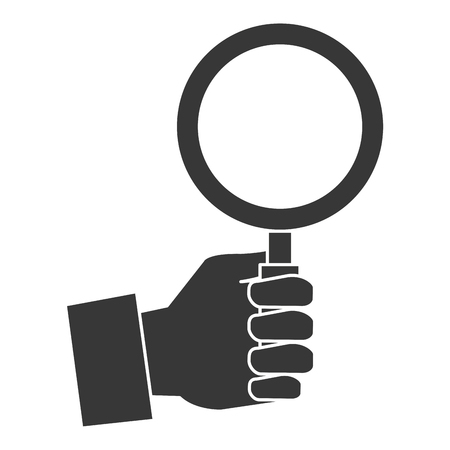 Hand with magnifying glass icon in silhouette illustration design