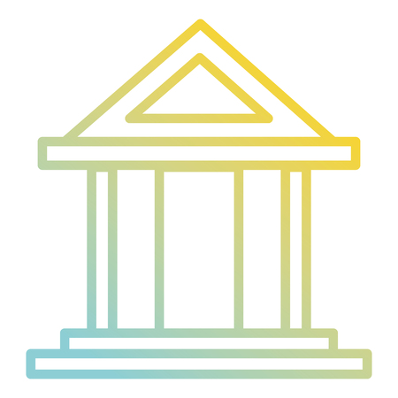 Bank building isolated icon illustration design