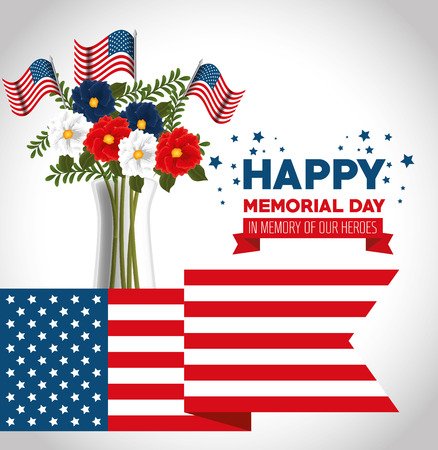Memorial day banner template with beautiful flowers and USA flag illustration design