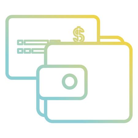 Wallet money with credit card vector illustration design Illustration