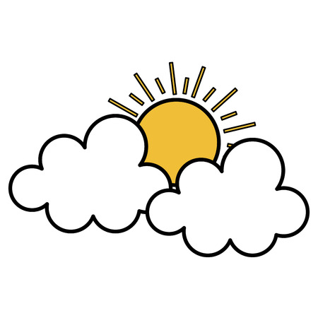 Clouds with summer sun isolated icon vector illustration design