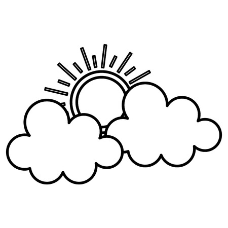 Clouds with summer sun isolated icon illustration design Ilustrace