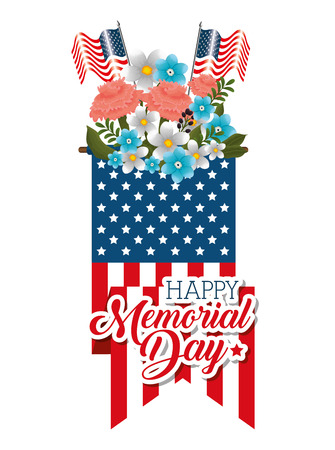 Happy memorial day with beautiful flowers and USA flag vector illustration design