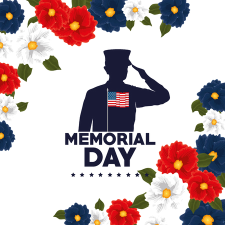 Happy memorial day with beautiful flowers and soldier silhouette vector illustration