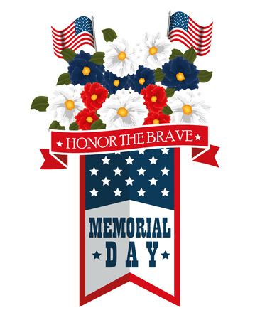 Memorial day with beautiful flowers vector illustration design