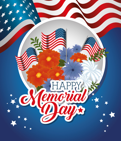Happy memorial day with beautiful flowers and USA flags vector illustration design