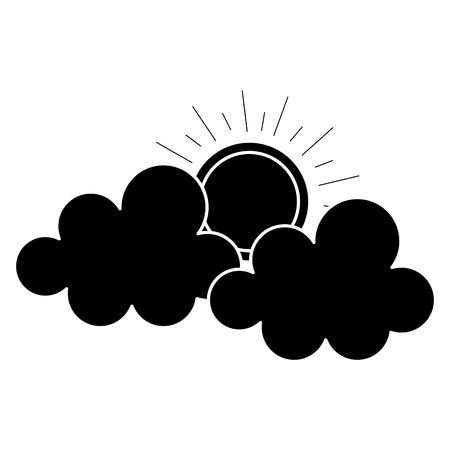 clouds with summer sun isolated icon vector illustration design Ilustrace