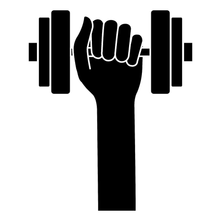 hands with weight lifting device icon vector illustration design
