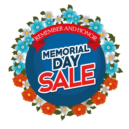 Memorial day sale with beautiful flowers vector illustration design