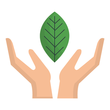 Hand with leaf plant ecology icon vector illustration design Illusztráció