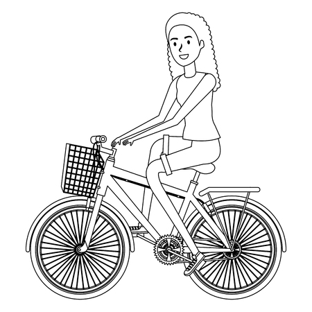 young woman in bicycle vector illustration design