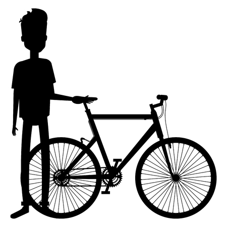 Silhouette of young man in bicycle vector illustration design Vektorové ilustrace