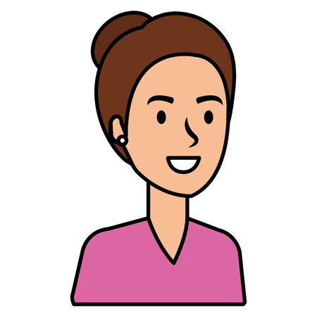Beautiful woman with hair on a bun avatar character vector illustration design