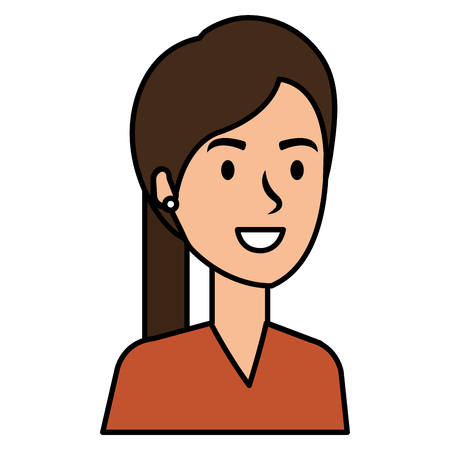 Beautiful woman in a ponytail avatar character vector illustration design