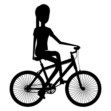 Young woman in bicycle silhouette  illustration design