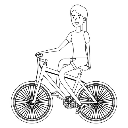 Young woman in bicycle illustration design