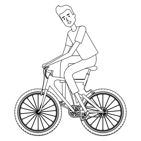 Young man in bicycle  illustration design