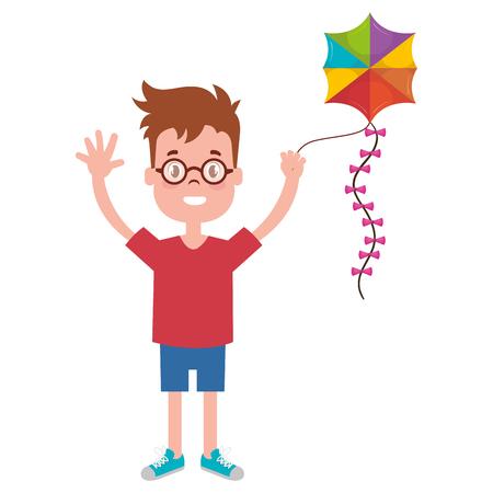 happy little boy flying kite character vector illustration design Illustration