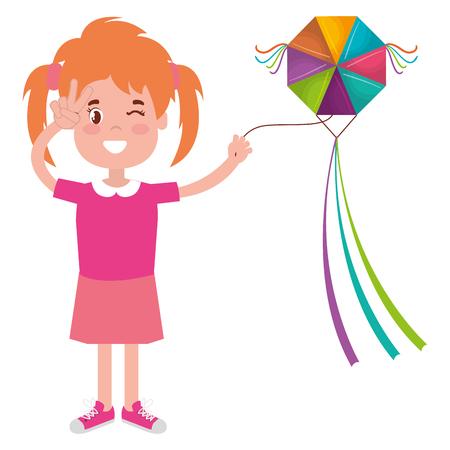 happy little girl flying kite character vector illustration design