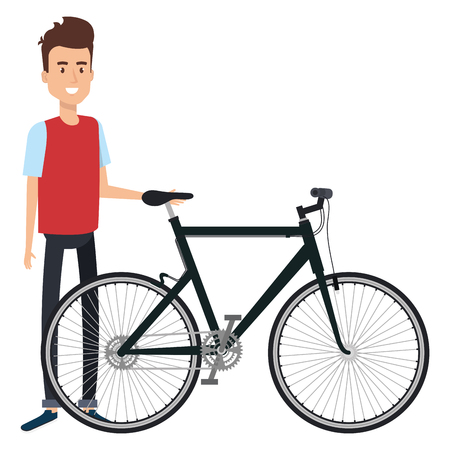 Young man in bicycle vector illustration design Ilustrace