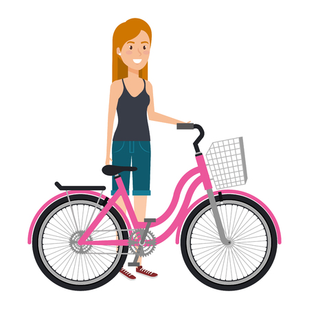 Young woman in bicycle vector illustration design Ilustrace