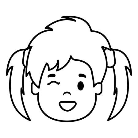 little girl head icon vector illustration design Illustration