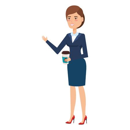 beautiful businesswoman with coffee avatar character vector illustration design Ilustração