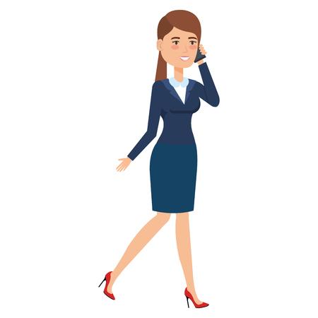 beautiful businesswoman calling with smartphone vector illustration design