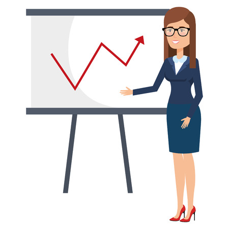 beautiful businesswoman with paperboard training avatar character vector illustration Illustration