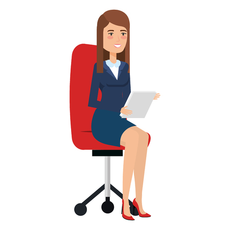 beautiful businesswoman with documents in chair vector illustration design Illustration