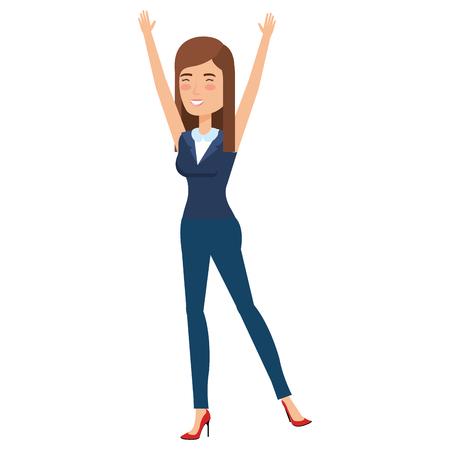 beautiful businesswoman celebrating avatar character vector illustration design  イラスト・ベクター素材