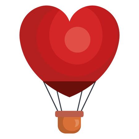 balloon air hot with heart shape flying vector illustration design