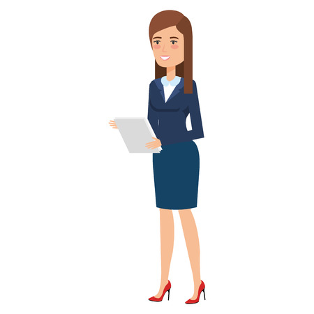 beautiful businesswoman with documents avatar character vector illustration design