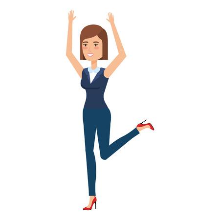 beautiful businesswoman celebrating avatar character vector illustration design 向量圖像