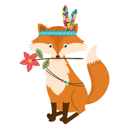 cute and tender fox with feather hat vector illustration design Иллюстрация