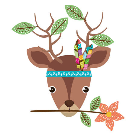 cute and tender reindeer with leafs and feather hat vector illustration design