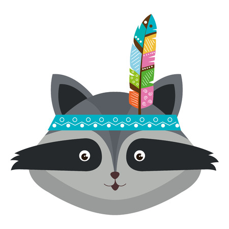 cute and tender raccoon with colors feathers vector illustration design