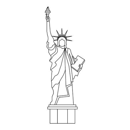 liberty statue monument icon vector illustration design 向量圖像