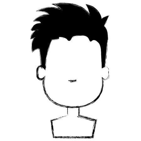 happy little boy shirtless character vector illustration design Çizim