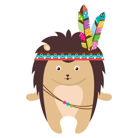 cute and tender Porcupine with feather hat vector illustration design