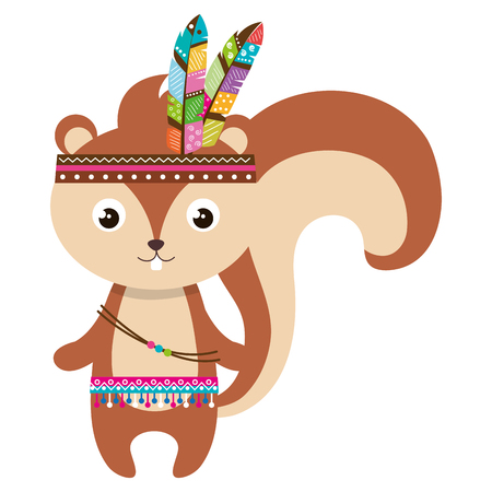 cute and tender chipmunk with feathers hat vector illustration design Illustration