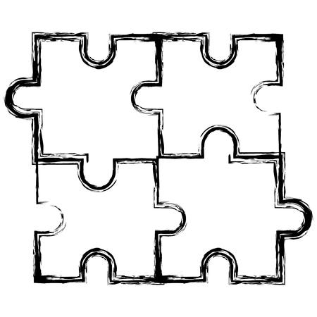 puzzle game pieces pattern vector illustration design Ilustrace