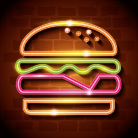 fast food burger neon label vector illustration design
