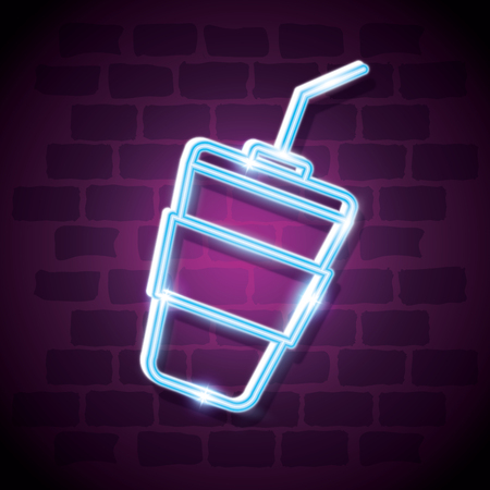 milkshake drink neon label vector illustration design Çizim