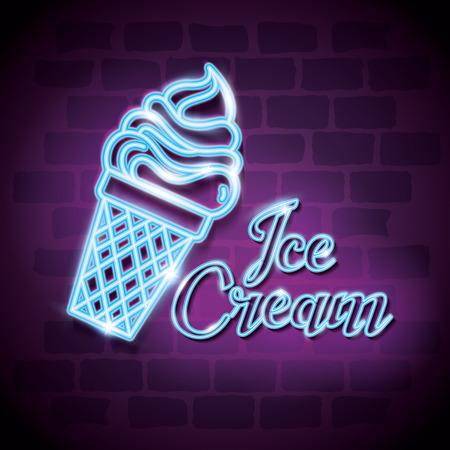 ice cream sweet neon label vector illustration design