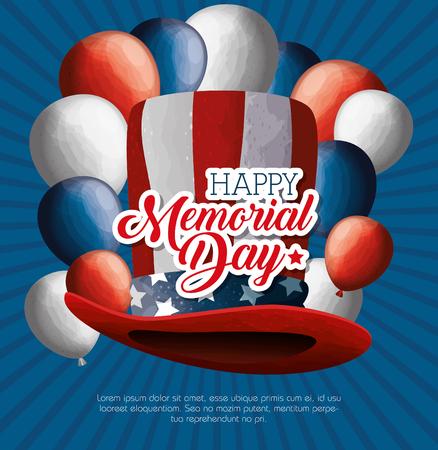 Feliz tarjeta de celebración del día conmemorativo con diseño de ilustración vectorial de sombrero